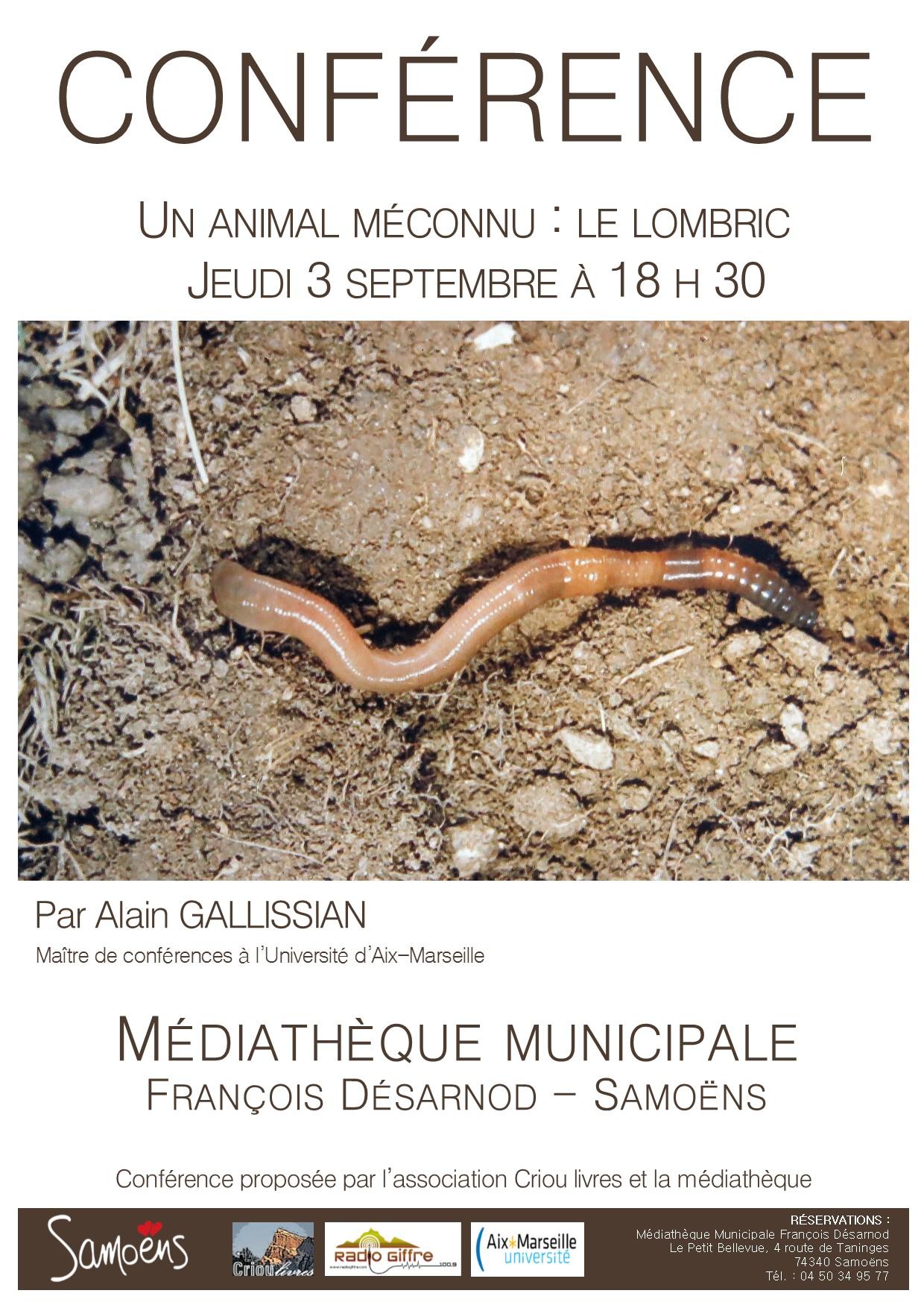 Conférence Lombric à la médiathèque de Samoëns 3 septembre 2020.Alain Gallissian, maître de conférence.